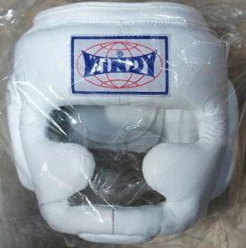 WINDY ウインディ 本革製 キックボクシング ヘッドギア ヘッドガード 白 Mサイズ