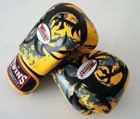 新 TWINS ツインズ 本革製キックボクシング グローブ ドラゴン2 黄 12オンス