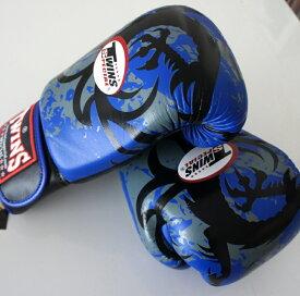 新 TWINS ツインズ 本革製キックボクシング グローブ ドラゴン2 青 14オンス