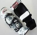 新 TWINS ツインズ 本革製キックボクシング レガース レッグガード ドラゴン2 白 Sサイズ