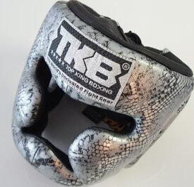 トップキング TOP KING キックボクシングヘッドガード ヘッドギア SNAKE 銀黒 Lサイズ