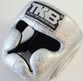 トップキング TOP KING キックボクシングヘッドガード ヘッドギア SNAKE 銀白 Lサイズ