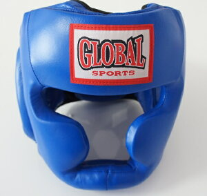 【送料無料】プロヘッドガード 青 (高級本革) ヘッドギア キックボクシング・ボクシング用 GLOBAL SPORTS グローバルスポーツ