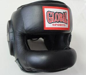 【送料無料】ノーズヘッドガード 黒 (高級本革) フルフェイスヘッドギア キックボクシング・ボクシング用 GLOBAL SPORTS グローバルスポーツ