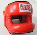 【送料無料】ノーズヘッドガード 赤 (高級本革) フルフェイスヘッドギア キックボクシング・ボクシング用 GLOBAL SPORTS グローバルスポーツ