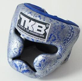 トップキング TOP KING キックボクシングヘッドガード ヘッドギア SNAKE 銀青 Mサイズ