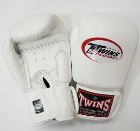 新 TWINS ツインズ 本革製キックボクシング グローブ 白 12オンス