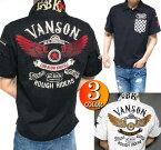 VANSONバンソンポロシャツ半袖メンズヴァンソンスウェットコラボLOWBLOWKNUCKLE(ローブローナックル)スター/ウイング/刺繍3つボタン2018ブラック/ホワイトM-XL
