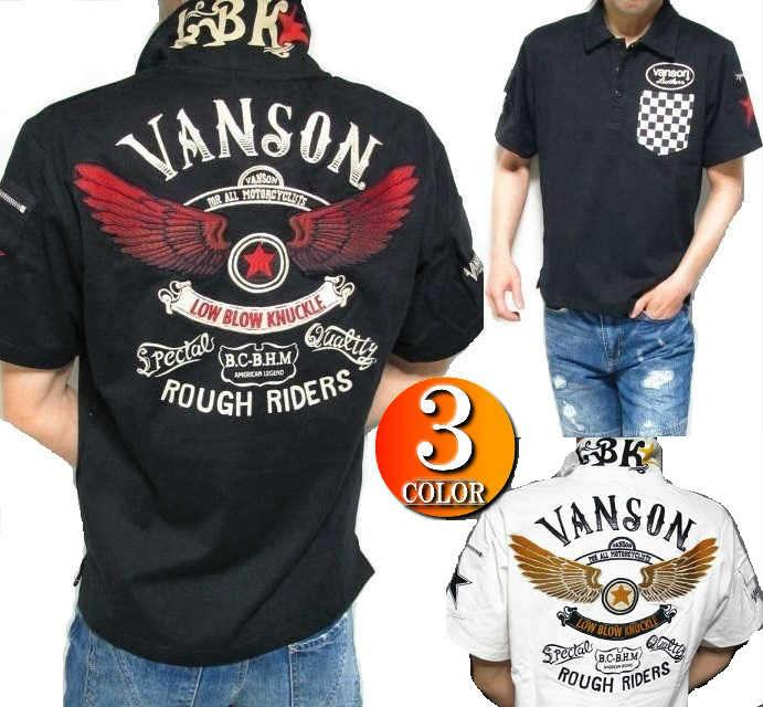 VANSON バンソン ポロシャツ 半袖 メンズ ヴァンソン スウェット コラボ LOWBLOW KNUCKLE(ローブローナックル) スター/ウイング/刺繍 3つボタン 2018 ブラック/ホワイト M-XXL