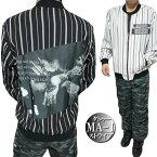 MA-1ジャケットメンズストライプコラージュ/縫い当て春秋薄手ブラック/オフホワイト