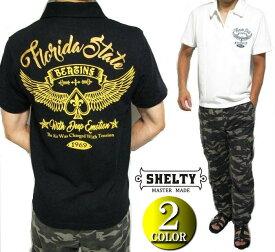 ポロシャツ メンズ 半袖 ウイング/バイカー 刺繍 シェルティー/SHELTY 鹿の子 ブラック/ホワイト M-L
