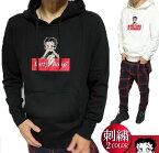 ベティーブープパーカーメンズ刺繍ワンポイントプルオーバーメンズファッショントップスbettyboopブラック/ホワイトM-XL