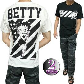 ベティーブープ ベティちゃん 服 グッズ ベティ・ブープ Tシャツ メンズ モノクロ/セクシー星条旗 セクシー 半袖 通販 ブラック/ホワイト betty boop M-XL