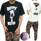 ベティーブープTシャツメンズモノクロ/セクシー半袖ブラック/ホワイトbettyboopビッグサイズM-XXL