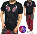 Tシャツメンズユニオンジャック/ヘッドフォン/イギリス国旗メンズファッショントップス半袖