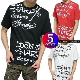 エドハーディー ed hardy エド・ハーディー 半袖 Tシャツ メンズ 総柄/ロゴプリント ブラック/レッド/ライトグレー 5カラー M-XXL ライセンス
