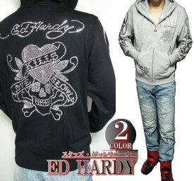 エドハーディー ed hardy エド・ハーディー パーカー メンズ ラブキル/スカル/スタッズ/ラインストーン ブラック/グレー M-XL 正規ライセンス