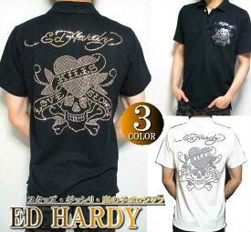 エドハーディー ed hardy エド・ハーディー 半袖 鹿の子/ポロシャツ メンズ スタッズ/ラインストーン ラブキル/スカル ブラック/ホワイト 3カラー M-XL