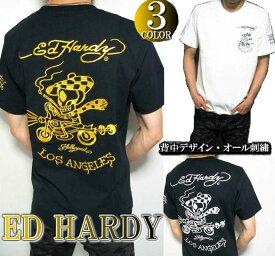 エドハーディー ed hardy エド・ハーディー 半袖 Tシャツ メンズ ゴールド/刺繍/ライダースカル ドクロ スカル ブラック/ホワイト 3カラー M-XL