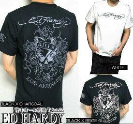 エドハーディー ed hardy エド・ハーディー 半袖 Tシャツ 刺繍/ラブキル 3カラー メンズ スカル/ドクロ ブラック/ホワイト M-XL