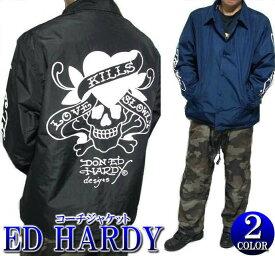 コーチジャケット ストリート エドハーディー ed hardy エド・ハーディー メンズ スカル/ラブキル ライトアウター ブラック/ネイビー M-XL 正規ライセンス