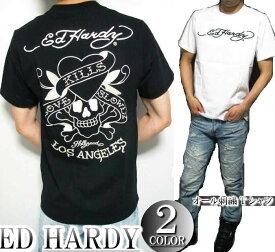 エドハーディー ed hardy エド・ハーディー 半袖 Tシャツ メンズ オール/刺繍/ラブキル ドクロ スカル ブラック/ホワイト M-XL