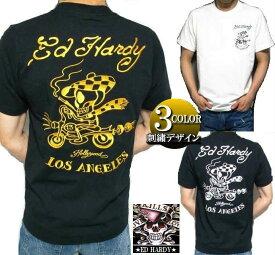 エドハーディー ed hardy エド・ハーディー 半袖 Tシャツ メンズ 刺繍/ライダースカル ドクロ スカル ブラック/ホワイト 3カラー M-XL