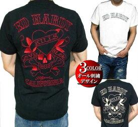 エドハーディー ed hardy エド・ハーディー 半袖 Tシャツ メンズ 刺繍/ラブキル ドクロ スカル ブラック/ホワイト 3カラー M-XL