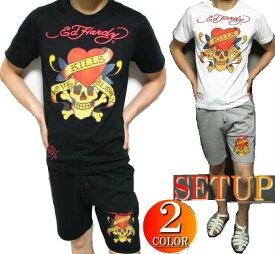 エドハーディー ed hardy エド・ハーディー セットアップ メンズ Tシャツ ハーフパンツ ラブキル/スカル 上下 パジャマ ブラック/グレー M-XL 正規ライセンス