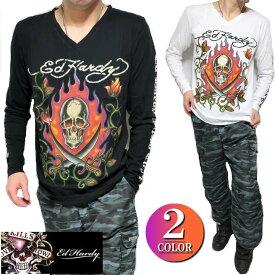 エドハーディー ed hardy エド・ハーディー Tシャツ ロンT メンズ 長袖 スカル/炎 Vネック ブラック/ホワイト M-XL