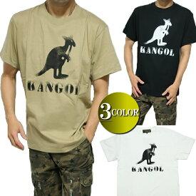 カンゴール/KANGOL Tシャツ メンズ 擦れプリント 半袖 カーキ/ブラック/ホワイト M-XL