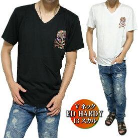 エドハーディー ed hardy エド・ハーディー Tシャツ メンズ Vネック 13 スカル/ドクロ カラフル 半袖 ブラック/ホワイト M-XL