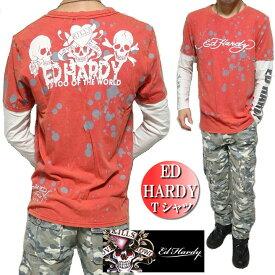 エドハーディー ed hardy エド・ハーディー Tシャツ ロンT メンズ レイヤード ペイント/スカル/ドクロ/長袖 S-XL