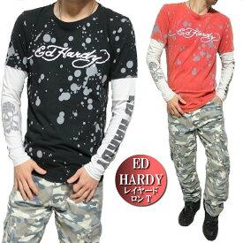 エドハーディー ed hardy エド・ハーディー Tシャツ ロンT メンズ レイヤード シンプル ペイント/スカル/ドクロ/長袖 S-L