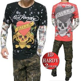 エドハーディー ed hardy エド・ハーディー Tシャツ ロンT メンズ レイヤード ペイント/ビッグ/スカル/ラブキル 長袖 S-L