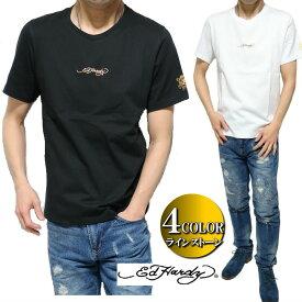 エドハーディー ed hardy Tシャツ メンズ ラインストーン/スカル/ドクロ/ラブキル シンプル ゴールド/シルバー 半袖 サイズM-XL