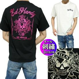 エドハーディー ed hardy Tシャツ メンズ スカル/ラブキル 刺繍 ポケット 半袖 ブラック/ホワイト ピンク刺繍 サイズM-XL