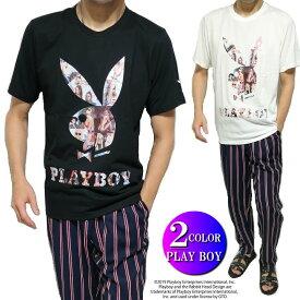 PLAY BOY プレイボーイ Tシャツ メンズ 刺繍/プリント /ラビット/ウサギ 半袖 COVER GIRL ブラック/ホワイト M-XL