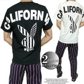 PLAY BOY プレイボーイ Tシャツ ポケット/刺繍 メンズ モノクロ/プリント /ラビット/ウサギ 半袖 カリフォルニア ブラック/ホワイト M-XL