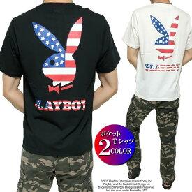 PLAY BOY プレイボーイ Tシャツ ポケット/星条旗/ラビット/ウサギ メンズ プリント 半袖 ブラック/ホワイト M-XL