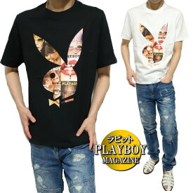 PLAY BOY プレイボーイ Tシャツ メンズ マガジン/表紙 カラー/プリント ビッグ/ラビット/ウサギ 半袖 ブラック/ホワイト M-XL
