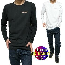 エドハーディー ed hardy Tシャツ ロンT メンズ ラインストーン シンプル ゴールド/シルバー 長袖 サイズM-XL