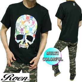 ROEN ロエン メンズ Tシャツ 半袖 スカル/ドクロ マルチ/カラフル MULTI COLORFUL ブラック S-XL ROA-010