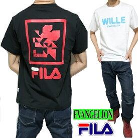 FILA/フィラ エヴァンゲリオン/EVANGELION Tシャツ メンズ/レディース ユニセックス ヴィレ/ネルフ/WILLE/NERV ブラック ホワイト S-XL