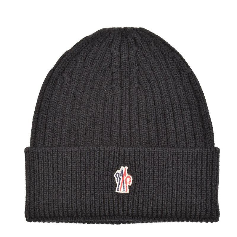 MONCLER GRENOBLE モンクレール グルノーブル ブラックヴァージンウールニットキャップ 帽子 イタリア正規品 0025900 新品