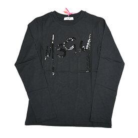 MSGM エムエスジーエム キッズ スパンコールロゴブラック長袖Tシャツ イタリア正規品 新品 020741