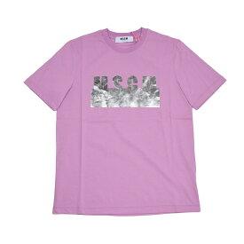 MSGM レディース パープルミラーロゴ半袖Tシャツ イタリア正規品 新品 2441MDM162