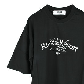 MSGM エムエスジイエム レディース RIVER ブラック半袖Tシャツ イタリア正規品 新品 2641MDM109