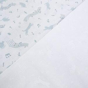 スケア ラッカー プリント 生地 (1M単位) ねこと音楽 3115-W11 音符 ネコ 猫 足跡 布 生地 ハンドメイド 手作り パッチワーク