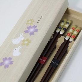 吉兆 桐箱 夫婦箸 楽うさぎ 木製 おはし 漆塗り 木箱 めおと箸 国産 ペア